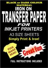 Inkjet Iron On T Shirt Transfer Paper For Dark Fabrics 10 A3 Sheets